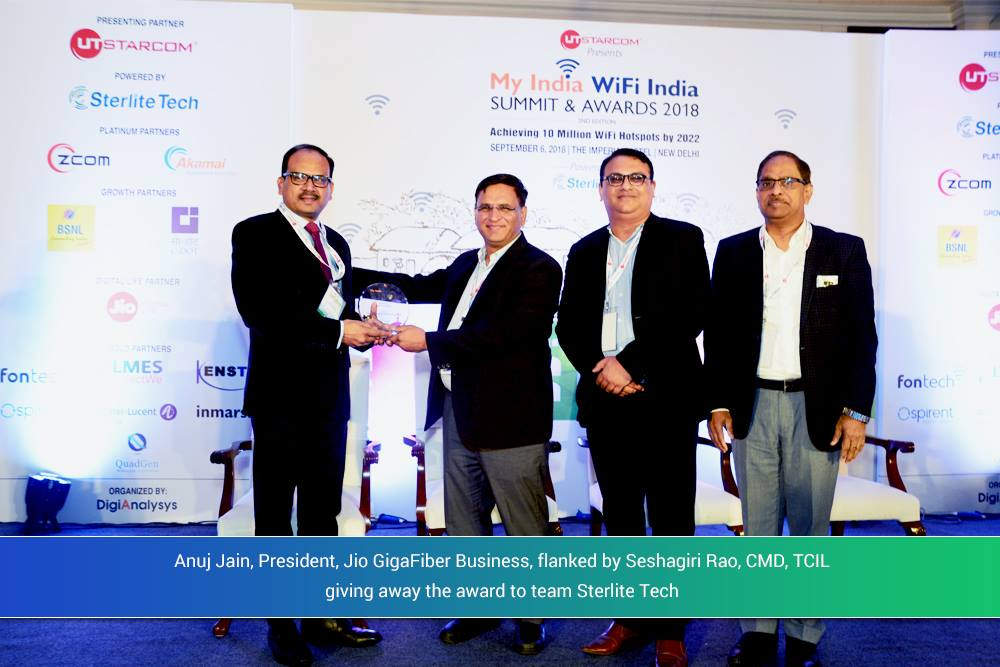 "Sterlite Tech and BSNL jointly win the ""Best Wi-Fi Monetisation Solution"" award"