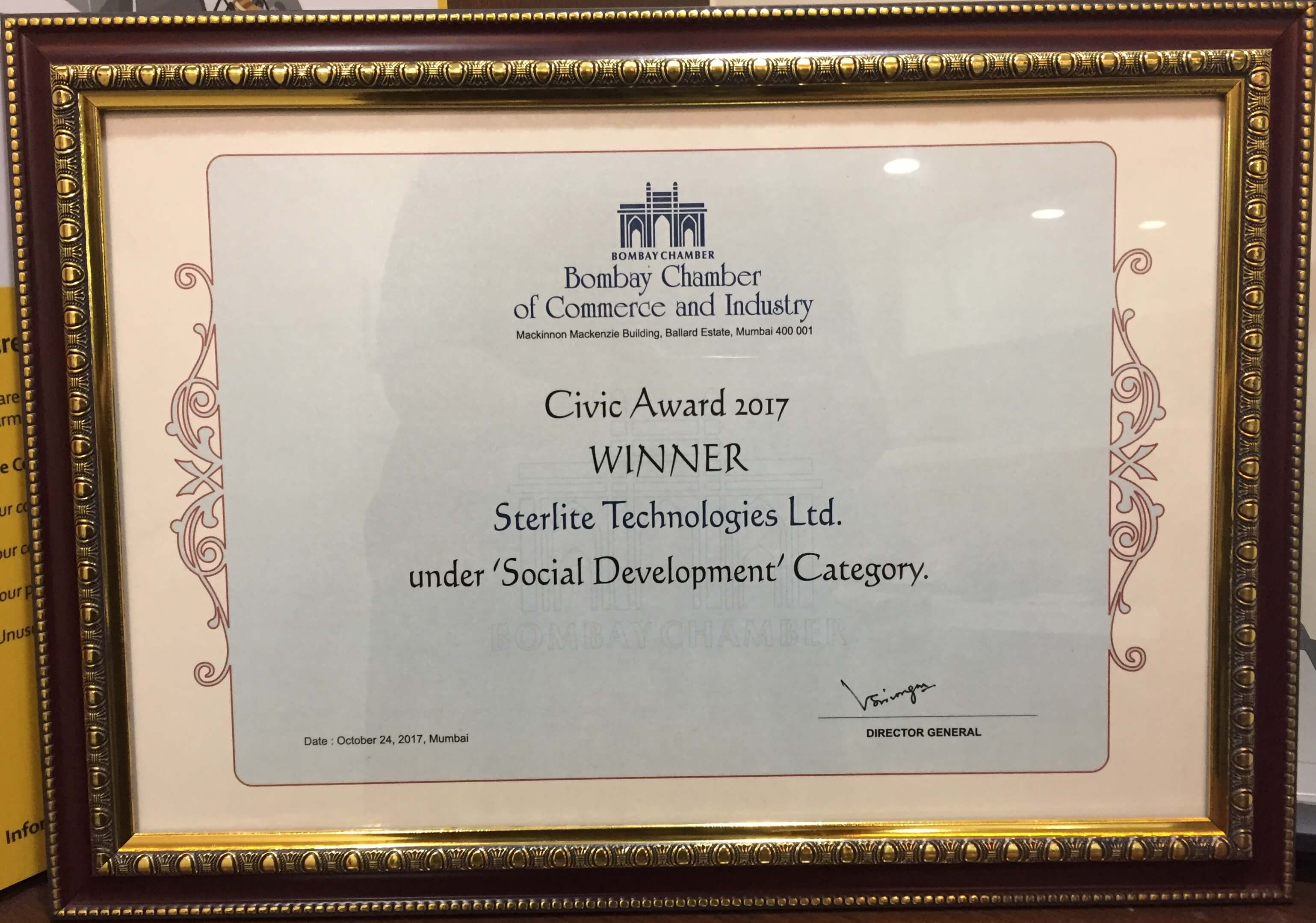 Sterlite Tech wins Civic Award Under Social Development Category