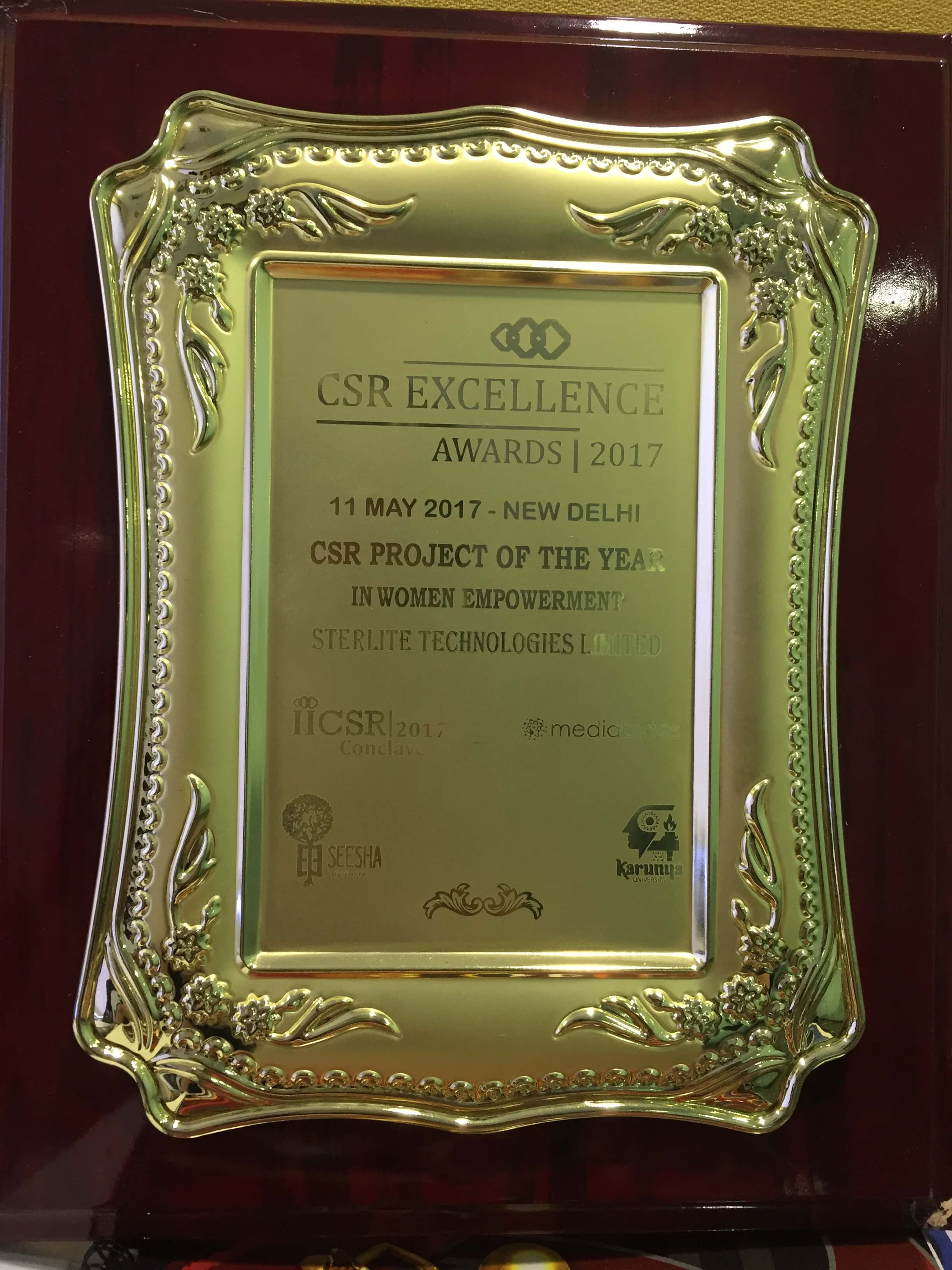 Sterlite Tech won Indian International CSR Excellence Awards